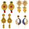 Mahi Gold Plated Combo of Traditional Dangler Earrings with Crystals for Girls and Women