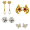 Mahi Combo of Dazzling Stud Earrings with Crystals for Girls and Women