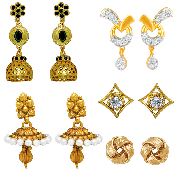 Mahi Gold Plated Combo of Jhumki and Stud Earrings with Crystals for Girls and Women
