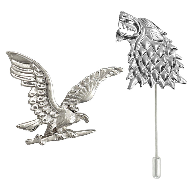 Mahi Rhodium Plated Combo of Eagle and Wolf Lapel Pin/Brooch