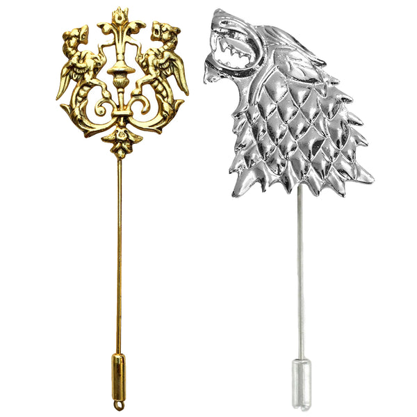 Mahi Fashionable Combo of Royal Lion and Wolf Lapel Pin/Brooch