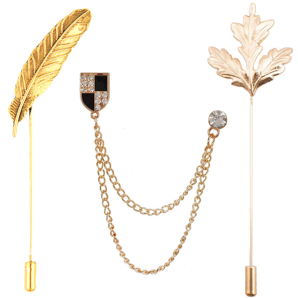 Mahi Trendy Combo of Leaf and Dual Chain Lapel Pin\Brooch