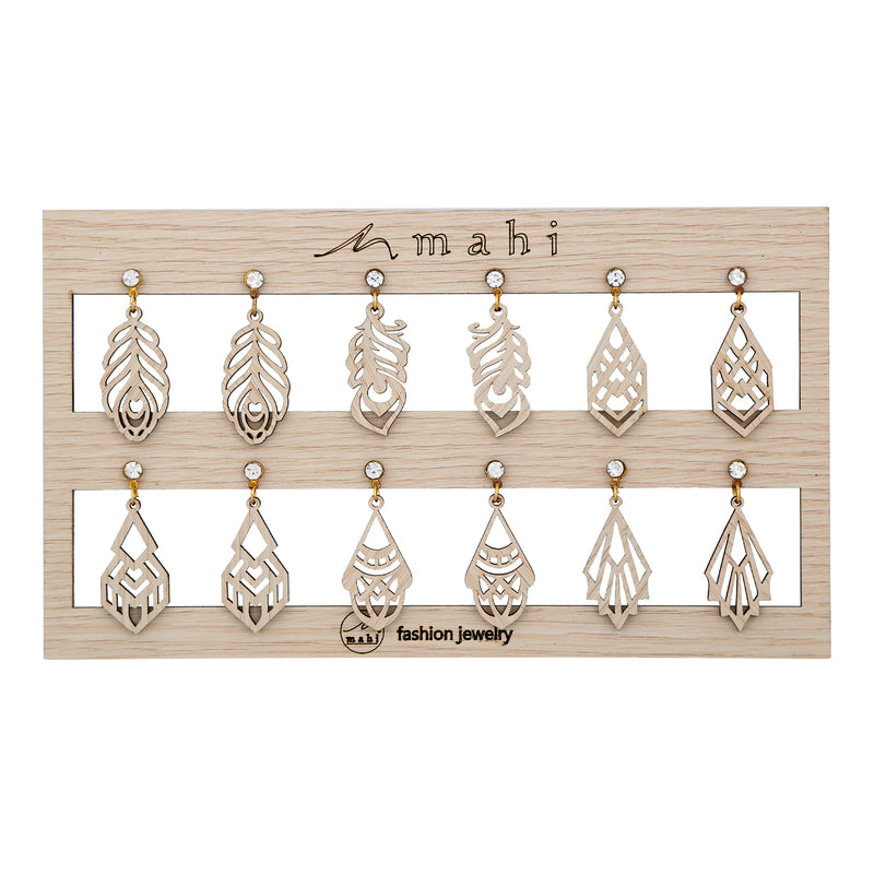 Mahi Gold Plated Combo of 6 Wooden Crystal Earrings