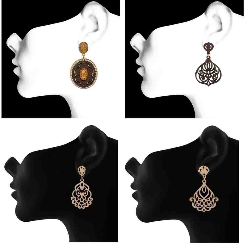 Mahi Gold Plated Combo of 4 Wooden Dangler Crystal Earrings