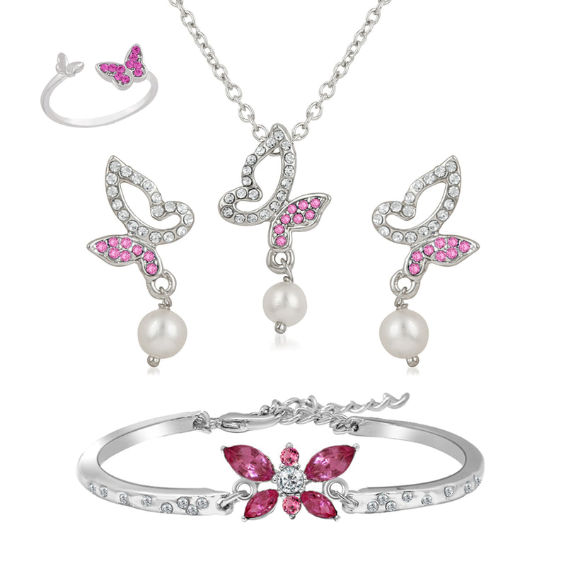 Mahi Rhodium Plated Combo of Beautiful Winged Pink Butterfly Pendant Set, Bracelet and Finger Ring