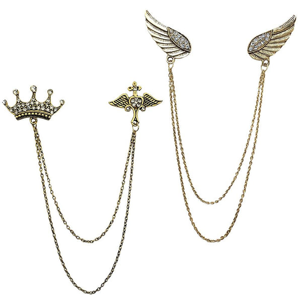 Mahi Combo of Crown and Wings Chain Brooch with Crystals