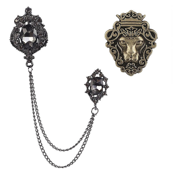 Mahi Combo of Lion's Face and Two Layer Chain Brooch with Crystals