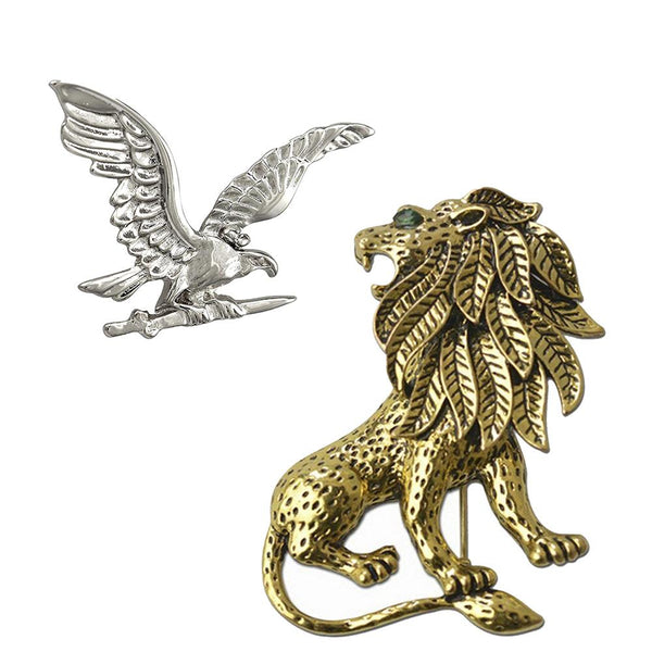 Mahi Classic Combo of Eagle and Lion Lapel Pin / Brooch