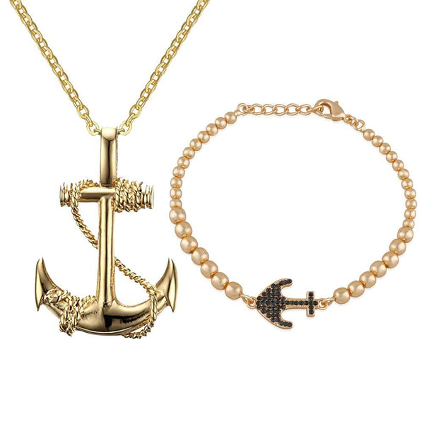 Mahi Combo of Anchor Bracelet and Pendant