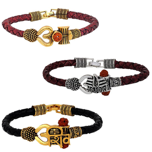 Mahi Combo of Om Shiv Trishul Damru and Mahakal Leather Bracelet with Rudraksha for Men (CO1105149M)