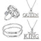 Mahi Valentine Gift Combo of King Queen Pendant, Bracelet and Couple Ring for Men and Women (CO1105168R)