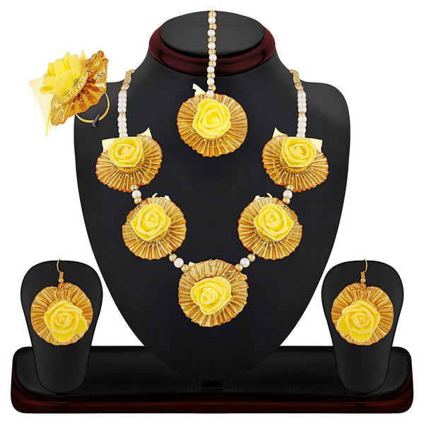 Mahi Gotta Patti Yellow Floret Pearl Jewellery Set Combo