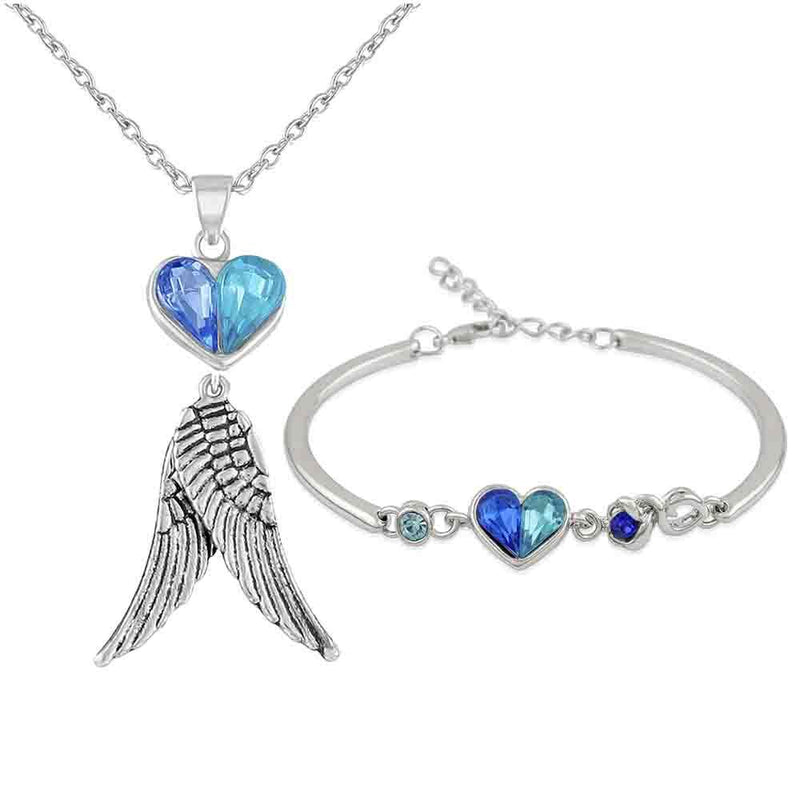 Mahi Combo of Heart and Wings Pendant and Bracelet