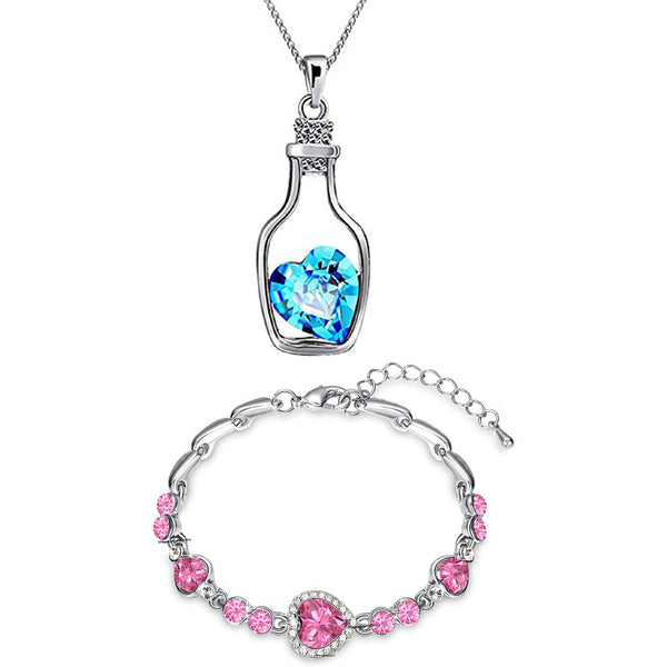 Mahi Valentine Gift Combo of Pink Heart Bracelet and Blue Bottle Heart Pendant with Crystals