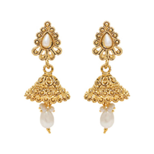 Kriaa White Pearl Gold plated Jhumki