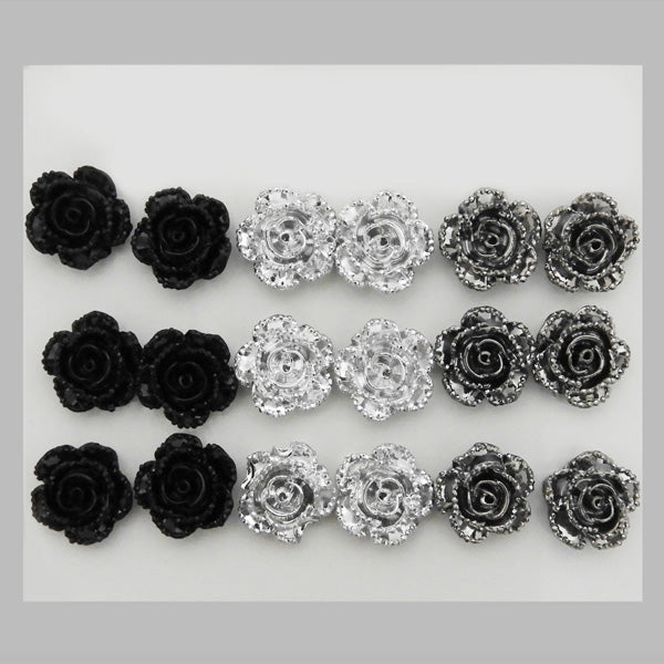 14Fashions Black And Grey 9 Pair of Stud Earrings Sets