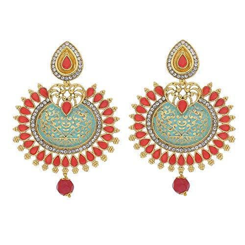 I Jewels Traditional Gold Plated Meenakari & Stone Studded Chandbali Earrings for Women (E2014)