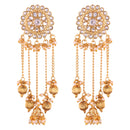 I Jewels Gold Plated Bahubali Kundan & Pearl Chain Earring for Women (E2617W)