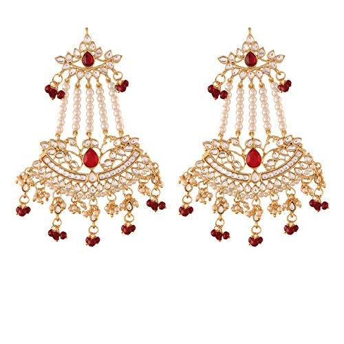 I Jewels Gold Plated Traditional Kundan & Pearl Dangler Drop Paasa Earrings For Women (E2636M)