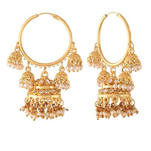 I Jewels Gold Plated Pearl Jhumki Hoop Earring for Women (E2849)