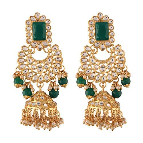 I Jewels Traditional Gold Plated Dangler & Drop Chandbali Designer Earrings For Women (E2850)