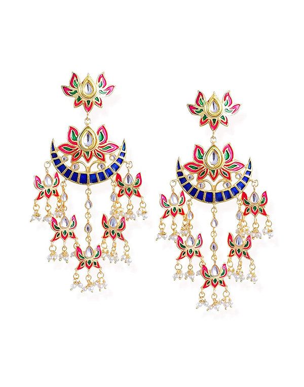 I Jewels Gold Plated Chandbali Kundan Pearl with Meenakari Dangle Jewellery Earring for Women (E2853)