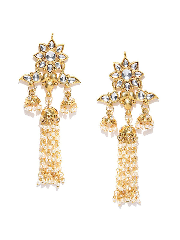 I Jewels Gold Plated Long Traditional Kundan & Pearl Dangler Jewellery Earring for Women (E2854W)