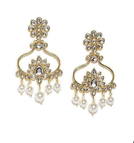 I Jewels Gold Plated Traditional Floral Drop Kundan & Pearl Jewellery Earring for Women (E2856W)