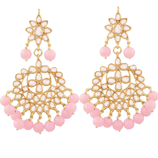I Jewels Traditional Gold Plated Kundan & Pearl Earrings for Women (E7058Pi)