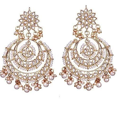 I Jewels Gold Plated Traditional Chandbali Kundan & Pearl Earrings for Women (E7077W)