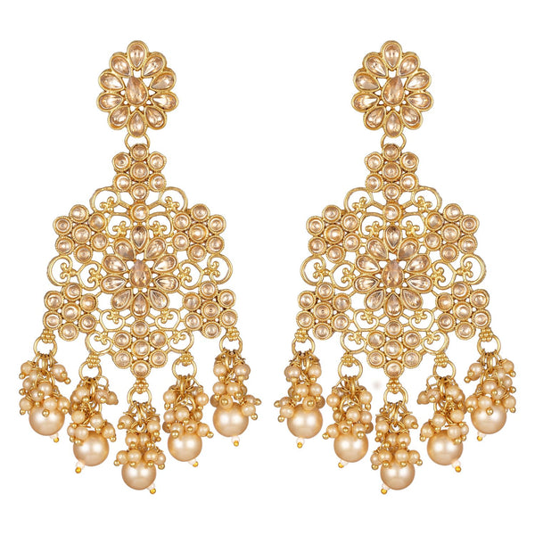 Asmitta Wedding wear designer Gold toned Dangle Earrings