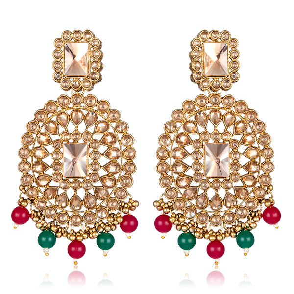 Asmitta Wedding wear Bridal Kundan Beaded Dangle Earrings