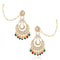 Asmitta Chandbali Wedding wear Bridal Kundan Pearl Studded Dangle Earrings with Kan Chain