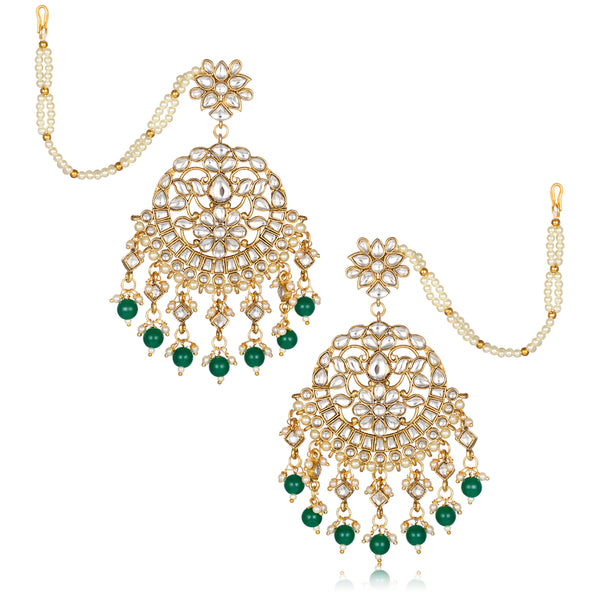 Asmitta Wedding wear Bridal Kundan Pearl Studded Long Dangle Earrings with Kan Chain