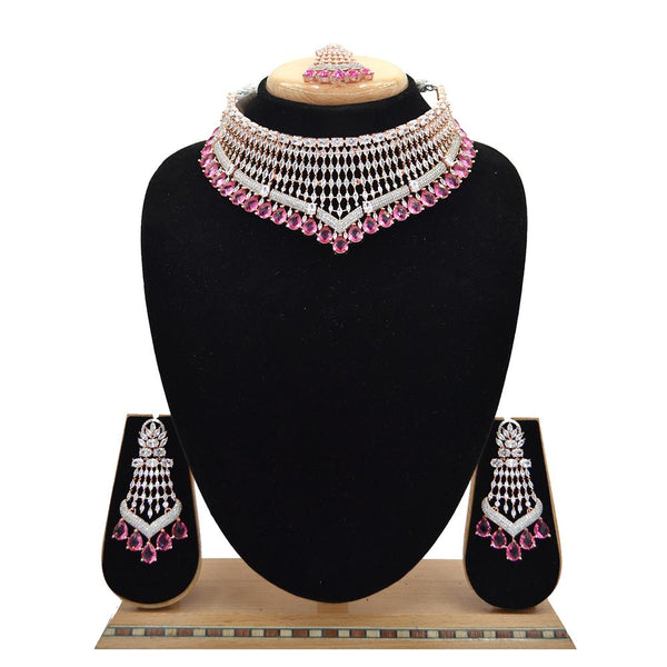 Emerald American Diamond Necklace With Touch Of Rani Stones - EJAN0002