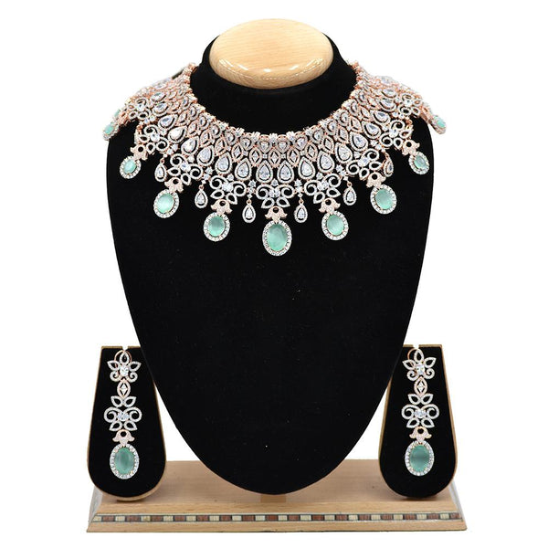 Emerald American Diamond Necklace With Touch Of Mint Green Stones - EJAN0004