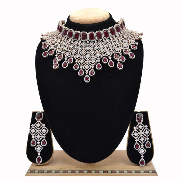 Emerald American Diamond Necklace With Touch Of Ruby Stones - EJAN0008