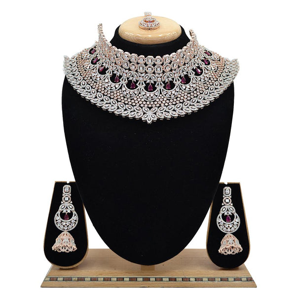 Emerald American Diamond Necklace With Touch Of Ruby Stones - EJAN0016