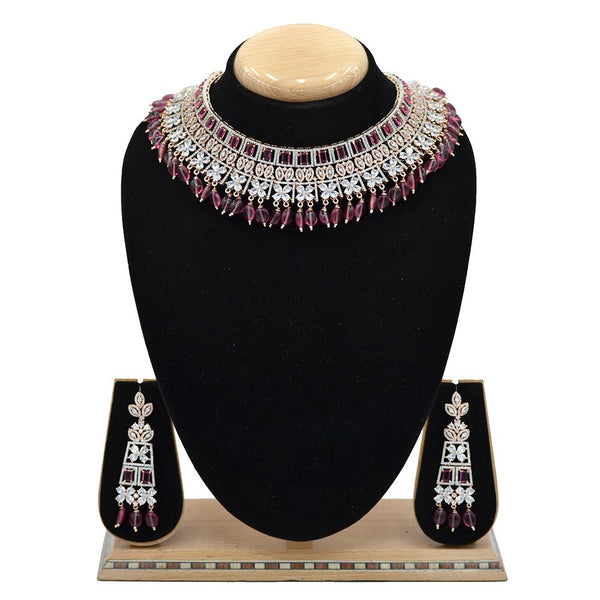 Emerald American Diamond Necklace With Touch Of Rani Stones And Hangings - EJAN0025