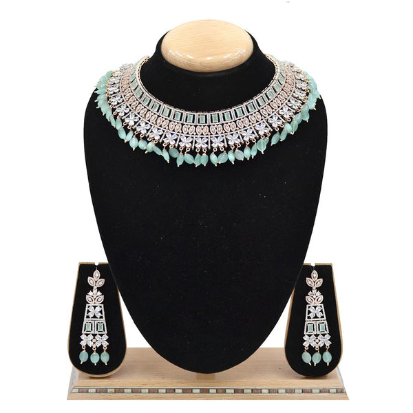 Emerald American Diamond Necklace With Touch Of Mint Green Stones And Hangings - EJAN0026