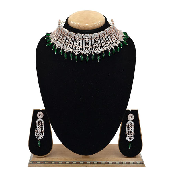 Emerald American Diamond Necklace With Touch Of Bottle Green Hangings - EJAN0029