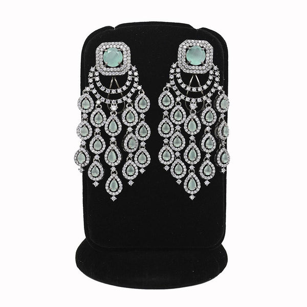 Emerald Black Rodium Plated Ad Stone With Mint Green Stone Work Dangler Earrings - Ejer00080