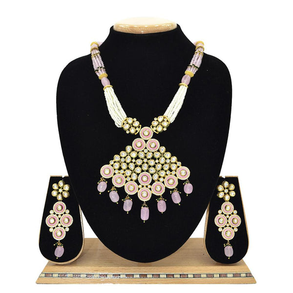 Emerald Kundan Pendent Mala Set With Touch Of Ad, Mint Pink Beads And White Pearl - Ejkm0010
