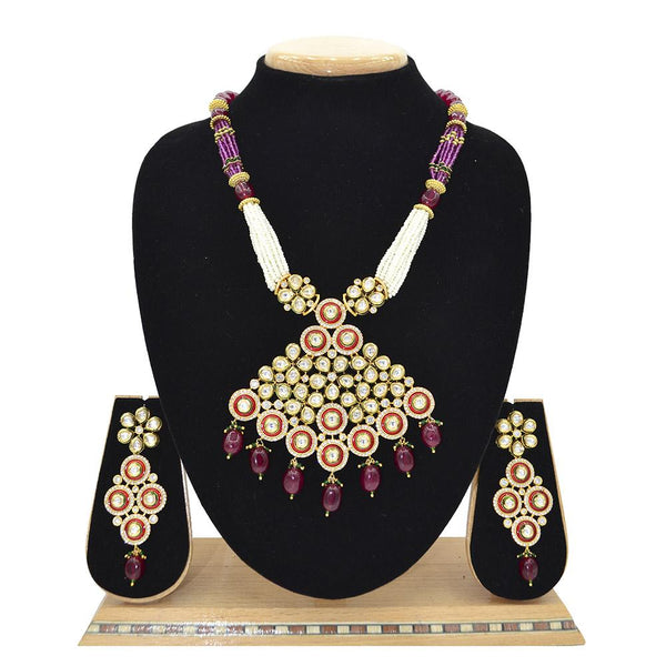Emerald Kundan Pendent Mala Set With Touch Of Ad, Ruby Colour Beads And White Pearl - Ejkm0011
