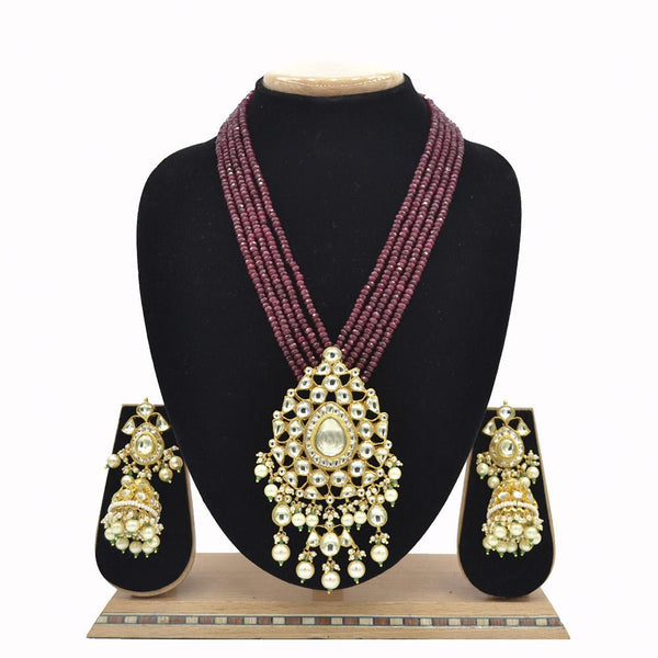 Emerald Pachi Kundan Jadau Pendent Set With Jade Ruby Mala And Jadau Kundan Jhumki - EJKM00014