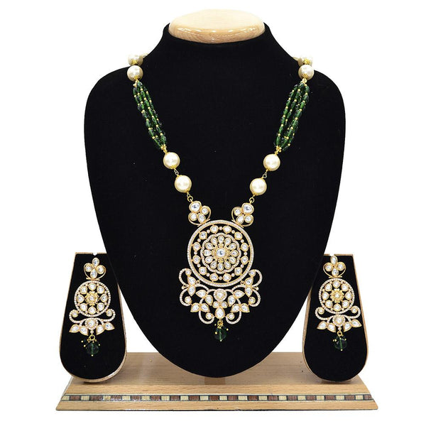 Emerald Kundan Pendent Mala Set With Touch Of Ad, Green Beads And White Pearl - Ejkm0003