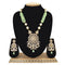 Emerald Kundan Pendent Mala Set With Touch Of Ad, Mint Green Beads And White Pearl - Ejkm0004