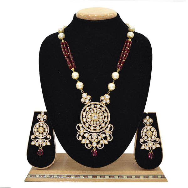 Emerald Kundan Pendent Mala Set With Touch Of Ad, Maroon Beads And White Pearl - Ejkm0005
