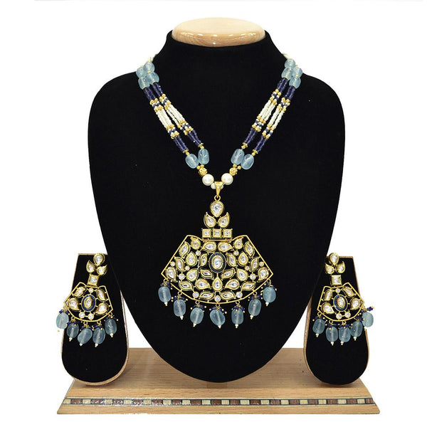Emerald Kundan Pendent Mala Set With Blue Beads And White Pearl - Ejkm0006