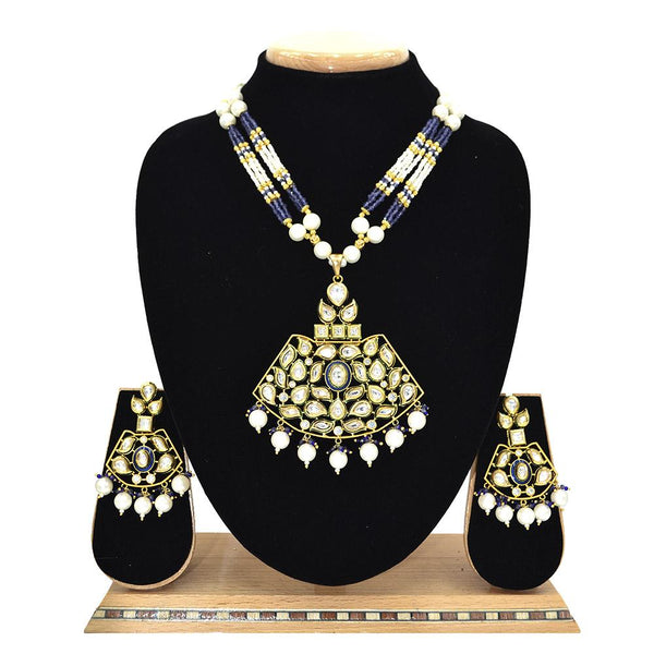 Emerald Kundan Pendent Mala Set With Blue Beads And White Pearl - Ejkm0007